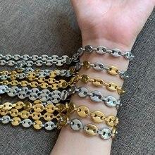 Collier en grains de café pour hommes et femmes, 6MM, 8MM, 11MM, 13MM, chaînes en acier inoxydable, bijoux faits à la main en or, cadeaux, 7-34 pouces