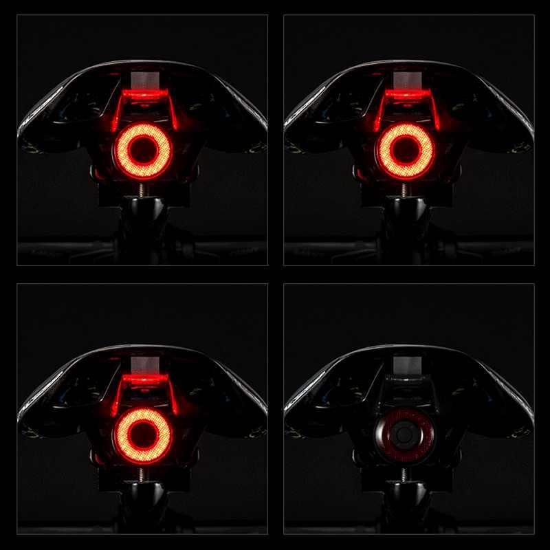 Luz LED para bicicleta ROCKBROS IPx6, luz trasera de carga USB resistente al agua para bicicleta Q5, linterna de freno para automóvil, luz inteligente con sensor