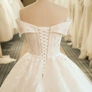 Image 5 - SL 5061 숄더 웨딩 신부 드레스 볼 가운 자수 레이스 applique Boho 웨딩 드레스 2020 noiva 플러스 사이즈 드레스