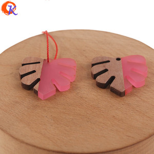 Image 2 - Cordial Design 30Pcs 28*30MM Jewelry Accessories/DIY Earrings Making/Leaf Shape/Natural Wood & Resin/Hand Made/Earring Findings