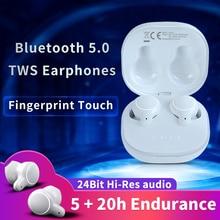 Ep810 tws bluetooth 5.0 fones de ouvido hd estéreo impressão digital toque, mini fones com microfone caixa carregamento esporte