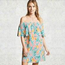 Haus von Sunny Kleid 2021 Sommer Europäische und Amerikanische Blumen Sexy Eingewickelt Brust Einem-neck Print Short Strand Kleid anjamanor