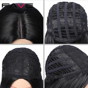 Image 5 - FAVE Straight bob Wig Natural Black Red Blue Green Synthetic Hair Middle Part Heat Resistant Fiber For Black Women Cosplay Party