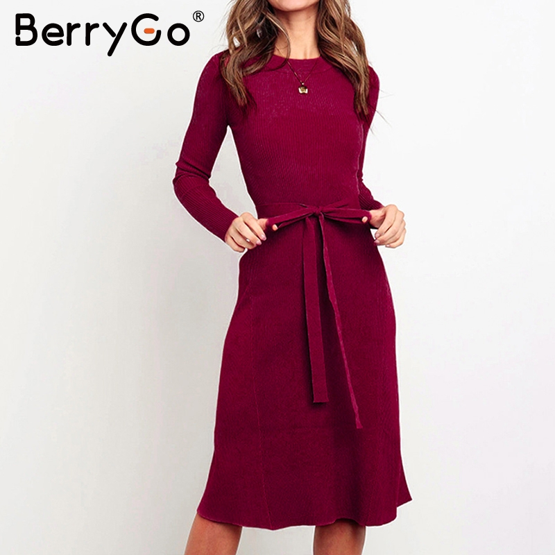 BerryGo Elegant Women Knitted Sweater Dress A-line Long Sleeve Strap Winter Dress Solid O-neck Sheath Autumn Ladies Short Dress