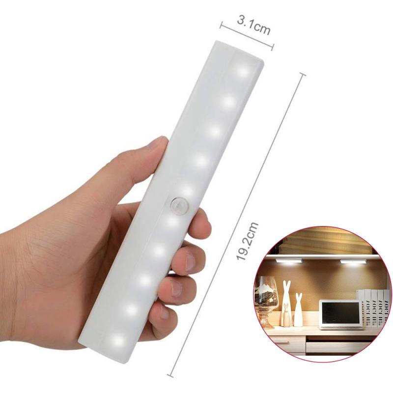 Motion Sensor Night Light For Cabinet Light Wall Stickers Wall Lamp 10 LED PIR Sensor Light Cupboard Wardrobe Bed Lamp