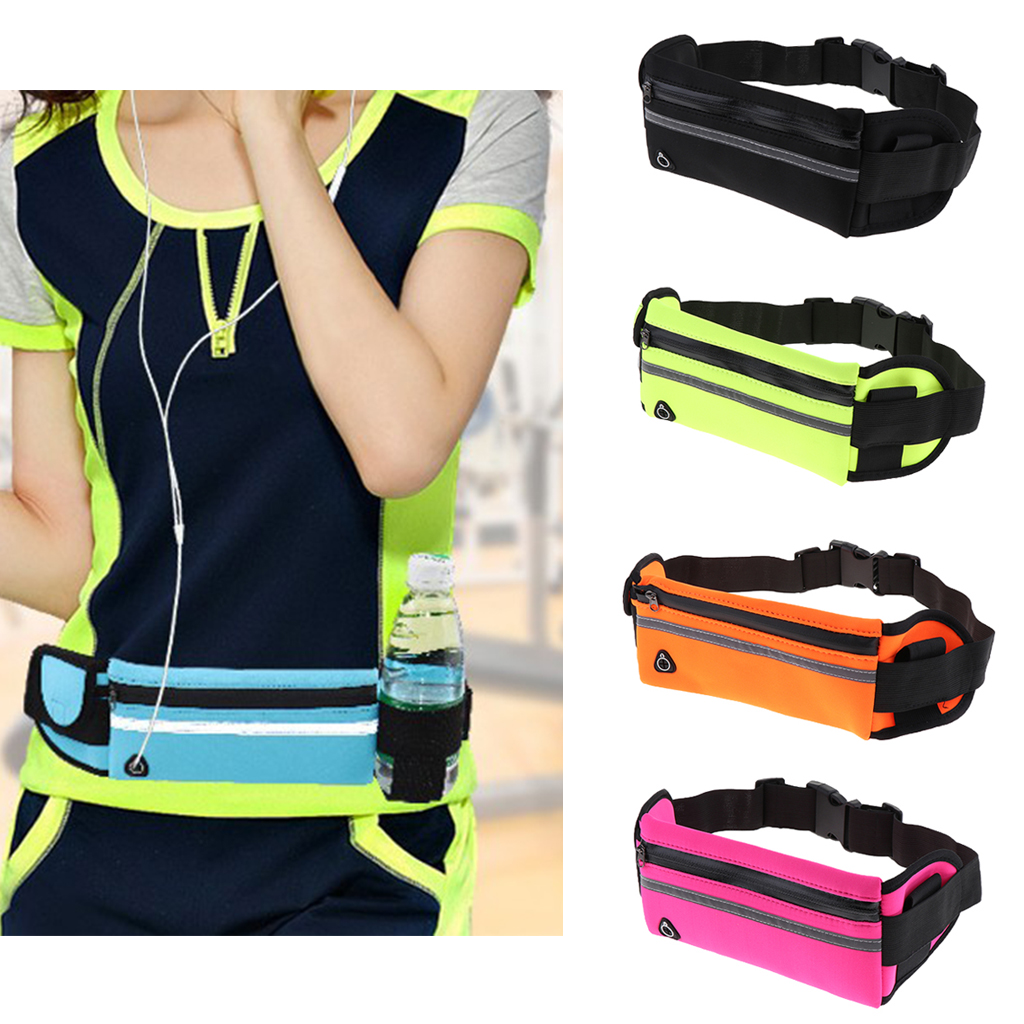 Galleria fotografica Waterproof Running Belt Bum Waist Pouch Fanny Pack Camping Sports Hiking Zip Bag Fitness Running Equipments Accessories