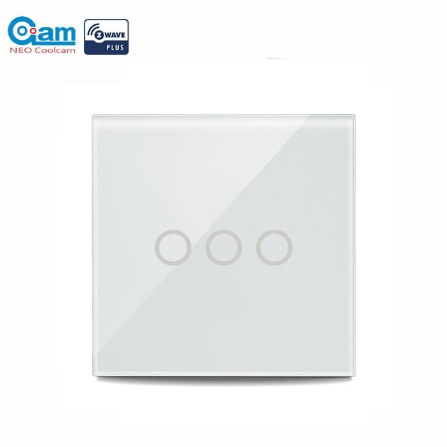 NEO COOLCAM 3CH Z wave Plus 벽 조명 스위치 3 Gang Home Automation 벽 조명 스위치 터치 컨트롤 EU 868.4MHZ