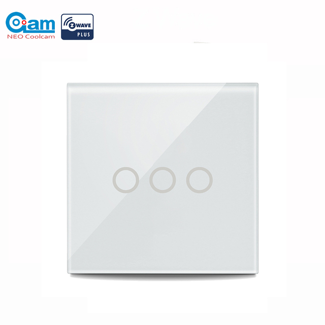 NEO COOLCAM 3CH Z wave Plus Wall Light Switch 3 Gang Home Automation Wall Light Switch Touch Control EU 868.4MHZ