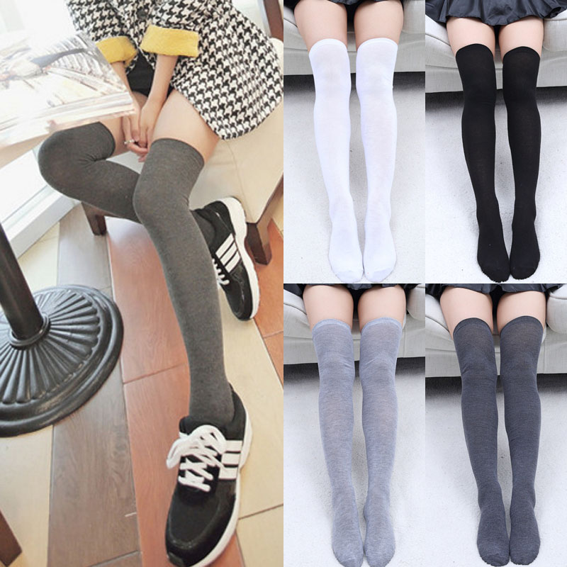 Womens Ladies Stockings Long Sexy Over The Knee Winter Warm Thigh High Soft Cotton Solid Stockings