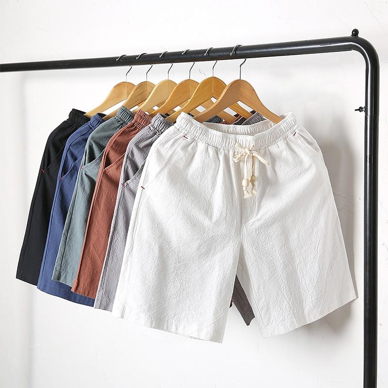 2020 New Hot Summer Linen Shorts Women Plus Size Cotton Linen Short Pants Elastic Waist Knee Length Shorts With Pockets M 5XL|Shorts| - AliExpress