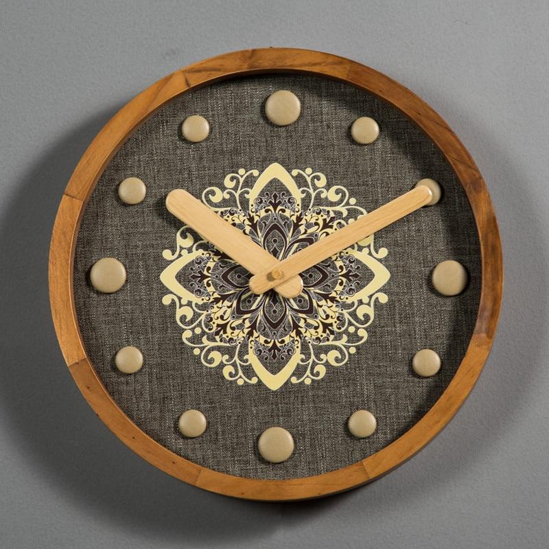 Creative Wooden Wall Clock Nordic Retro Mute Wall Clock American Kitchen Living Room Reloj De Pared Home Decoration DD55WC