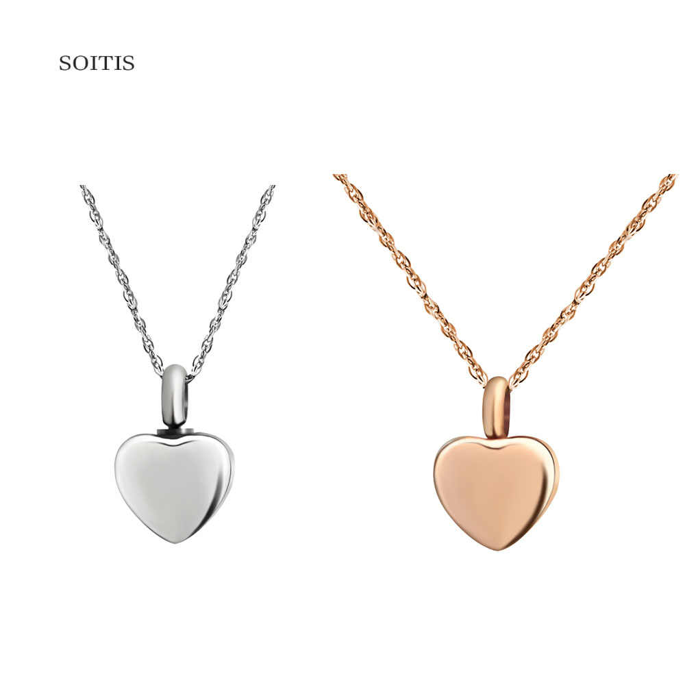 SOITIS w kształcie małego serca złoty kolor dostosuj wypełniony popiół naszyjnik moda Keepsake prezent dla kobiet mężczyzn modlitwa Box