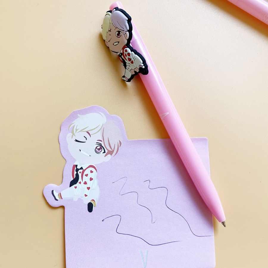 7 adet/grup Kpop yıldız dünya turu güzel karikatür PVC yumuşak jel kalem Biro J-HOPE suga RM Jimin V JungKook Jin oyuncak hediye