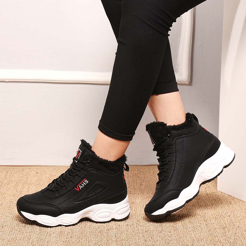 Image 3 - SWONCO  Women Winter Shoes Velvet Fur Platform Sneakers Black/white 2019 New High Top Female Casual Shoes Cotton Padded SnowWomens Vulcanize Shoes   -
