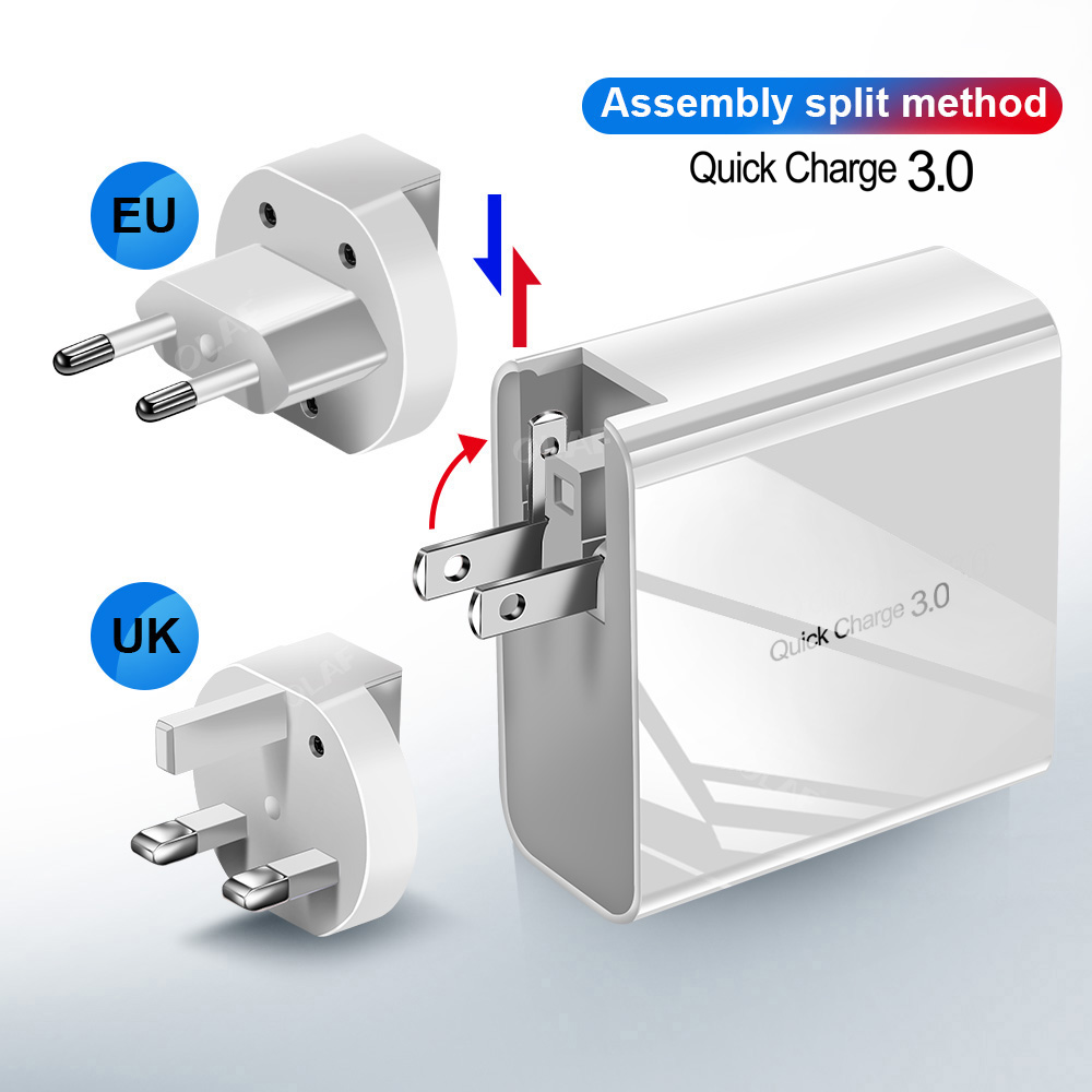 Image 2 - 48W Multi Quick Charger PD Type C USB Charger for Samsung iPhone Huawei Tablet QC 3.0 Fast Wall Charger US EU UK Plug Adapter-in Mobile Phone Chargers from Cellphones & Telecommunications