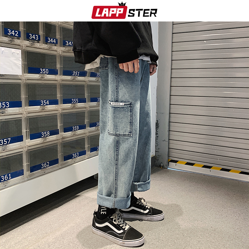 LAPPSTER Men Baggy Korean Blue Jeans Harem Pants 2020 Big Pocket Denim Straight Pants Mens Japanese Streetwear Hip Hop Trousers