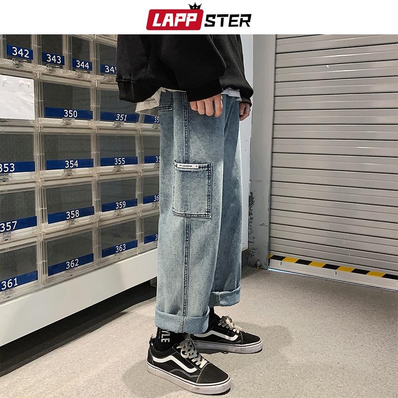LAPPSTER Men Baggy Korean Blue Jeans Harem Pants 2020 Big Pocket Denim Straight Pants Mens Japanese Streetwear Hip Hop Trousers