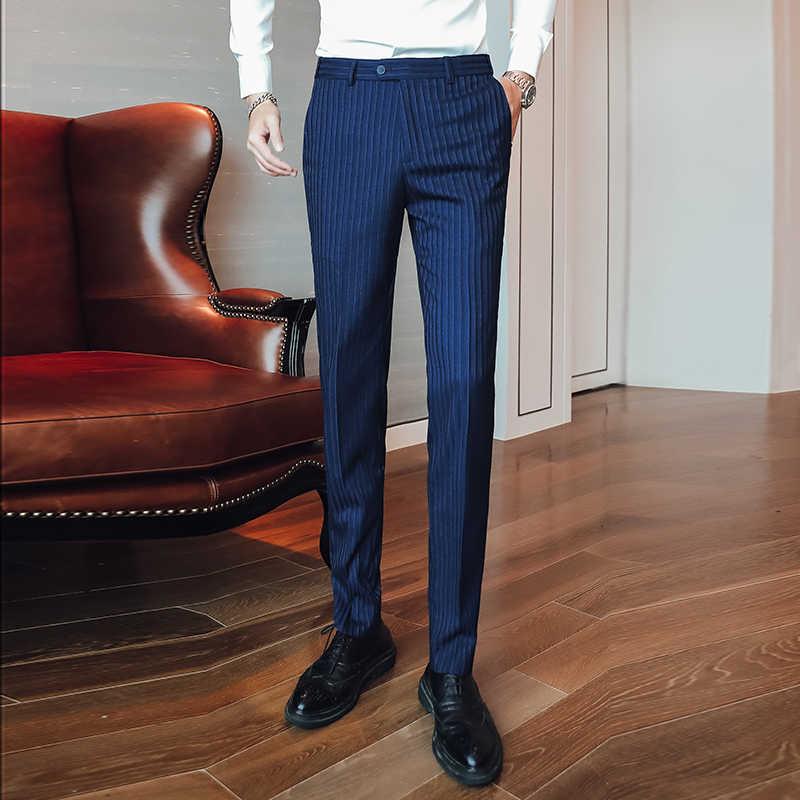 Pantalones De Vestir A Rayas Azules Oscuro Para Hombre Pantalon Formal De Rayas Ajustados Para Oficina Y Negocios P17 2019 Pantalones De Traje Aliexpress