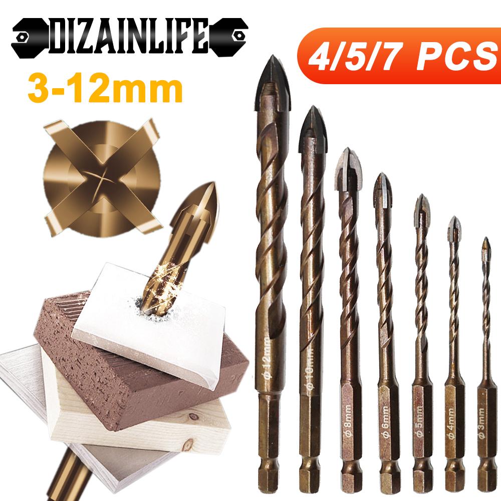 DIZAINLIFE 3-12mm Cross Hex Tile Drill Bits Set for Glass Ceramic Concrete Hole Opener Brick Hard Alloy Triangle Bit Tool Kit