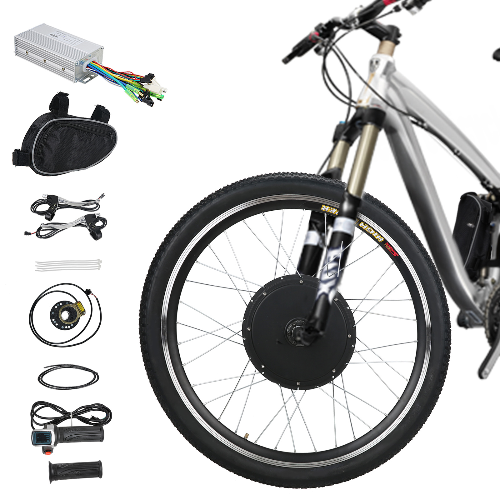 48V 1000W Front Wheel Electric Bicycle Conversion Kits E-Bike Cycling Hub Motor