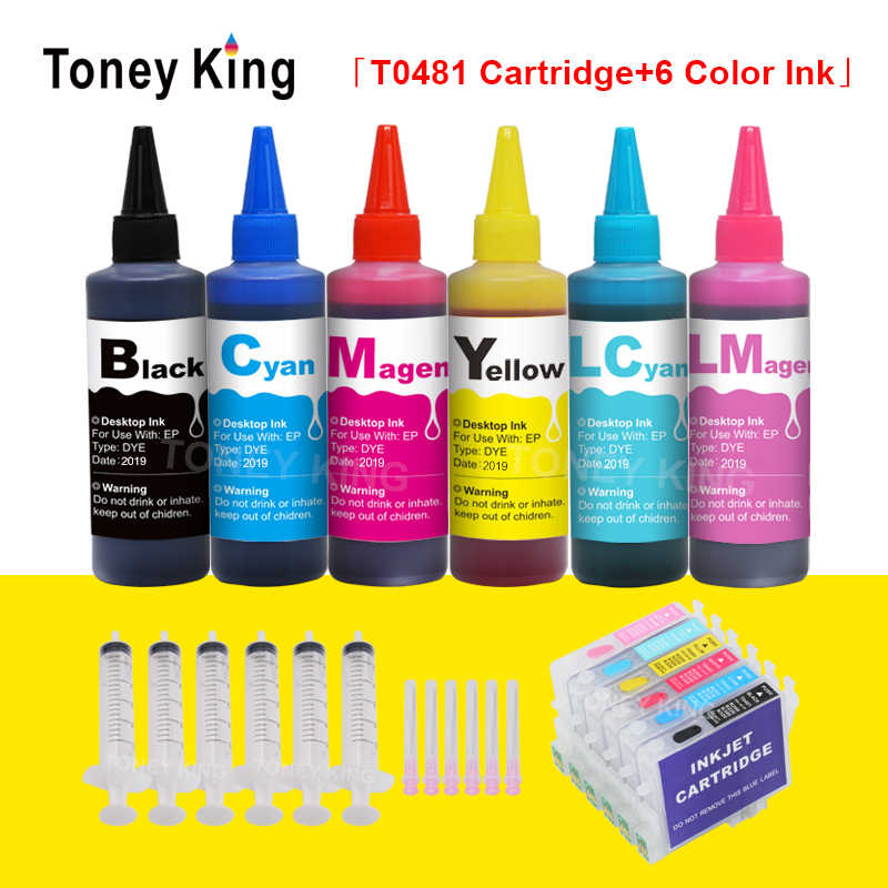 Toney King 6 × 100 Ml Tinta Printer Isi Ulang Kit + T0481-T0486 Pewarna Tinta untuk EPSON STYLUS PHOTO R200 r220 R300 R300M R320