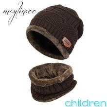 Maylisacc 2 шт. Детские теплые зимние шапочки вязаная шапка и шарф набор Маска Шапочка Кепки для От 3 до 14 лет для девочек и мальчиков студенты