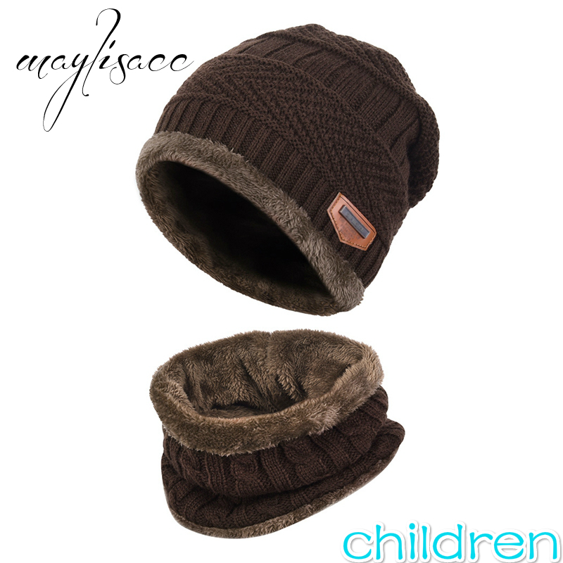 Maylisacc 2Pcs Kids Warm Winter Beanies Knitted Hat And Scarf Set Mask Beanie Cap For 3-14 Years Old Girls And Boys Students