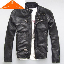 Jacket Men Leather Genuine Real Sheep Goat Skin Brand Black Male Bomber Motorcycle Biker Man's Coat Autumn Spring Clothes zlg99(China)