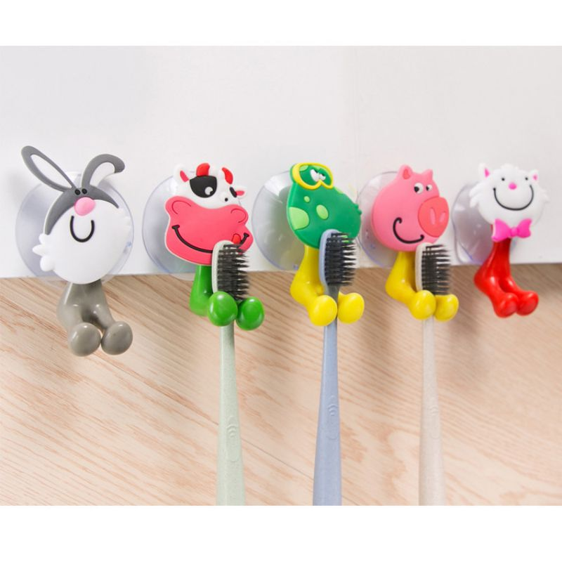 Cute Cartoon Animal Toothbrush Holder Household Bathroom Suction Cup Toothbrush Holder For Kids image