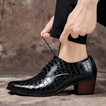 2020 Luxury Men Dress Wedding Shoes Glossy Leather 6cm High Heels Fashion Pointed Toe Heighten Oxford Shoes Party Sneakers pointed toe lace up oxford men shoes high heels embossed leather luxury party shoes brand design height increasing wedding shoes