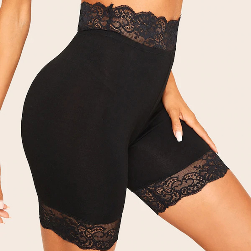 GAOKE Black Lace Trim Solid Biker Shorts For Women Activewear 2020 Summer Athleisure Female High Waist Skinny Shorts