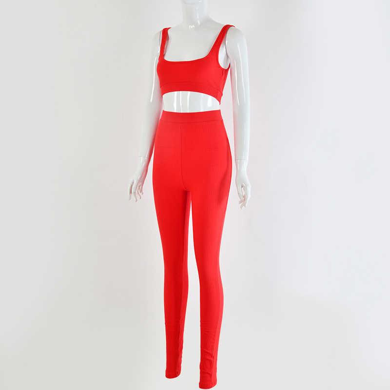 Newasia jardim outono novo tricô bodycon sexy duas peças conjunto feminino vermelho branco cinza sem mangas cintura curto topo longo calças
