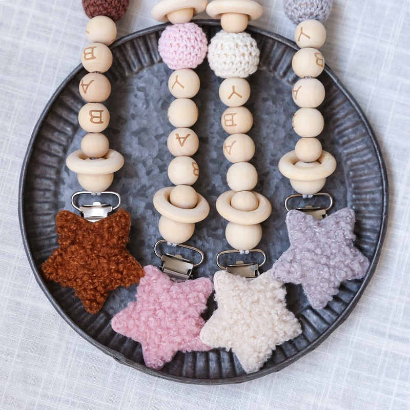 Baby Lamb Wool Star Pacifier Chains Dummy Wooden Clips Chain Heart Baby Pacifier Clips Holder Chain Personalized Kids Toys