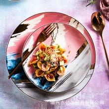 Creative colorful dinner plate, dish plate, fruit plate, salad plate, ceramic plate, tableware plate, cake plate