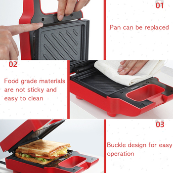 ANIMORE Electric Egg Sandwich Maker Mini Grilling Panini Baking Plates Toaster Multifunction Non-Stick waffle Breakfast Machine 6