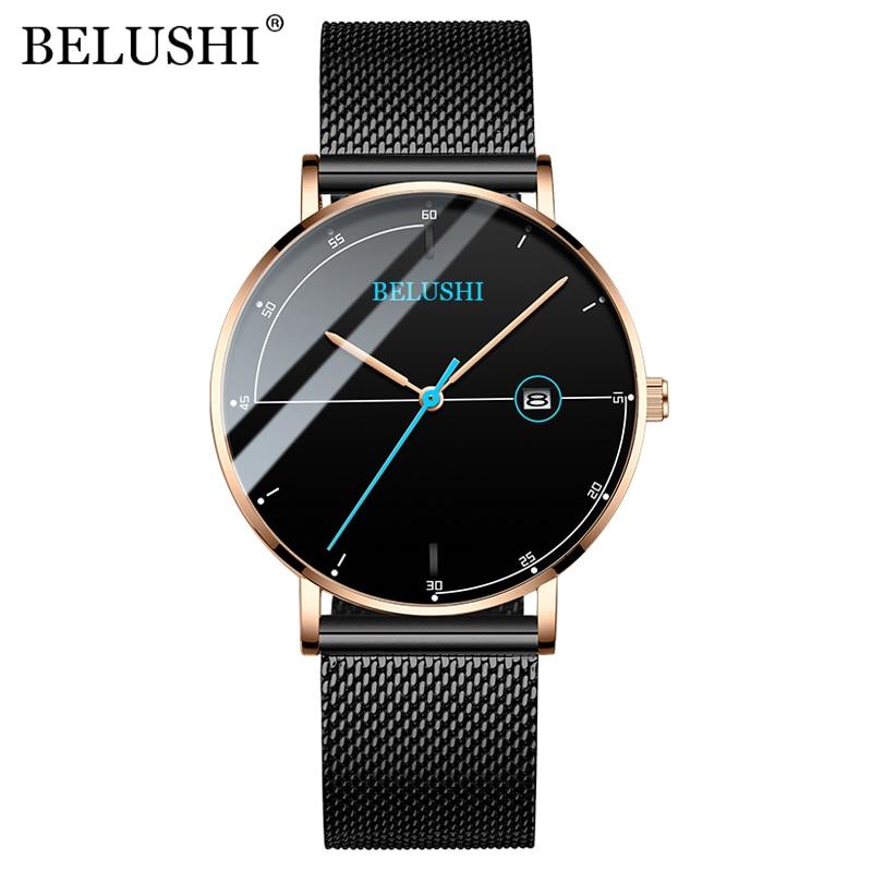 BELUSHI Herren Uhren Mode Ultra-dünnen Stahl Mesh Quarzuhr Männer Kalender Wasserdicht Analog Armbanduhr Luxus Männlichen Uhr