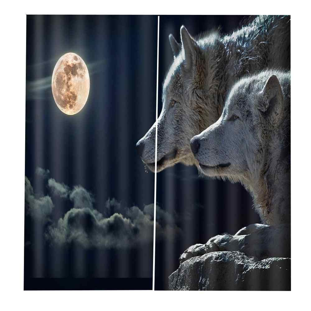מותאם אישית 3d וילונות לילה ירח זאב וילונות לסלון חדר שינה מטבח blackout וילונות מקלחת וילון בד