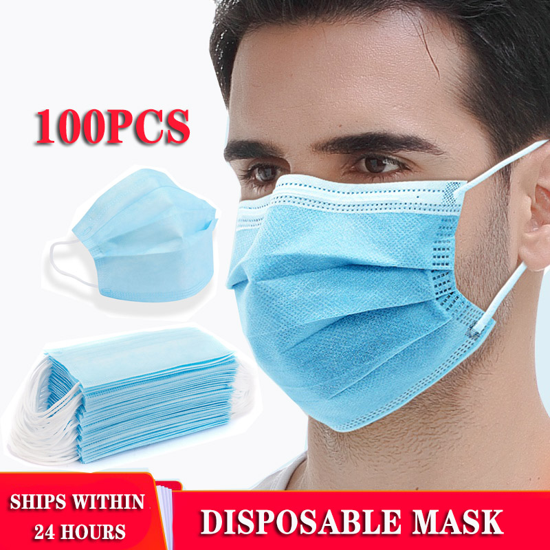 100pcs Disposable Protective Face Mask Three-layer Meltblown Cloth Combination Masks Anti-fog Protective Bacterial Respirator