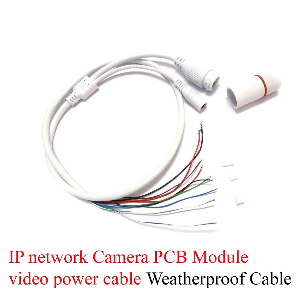Anpwoo CCTV POE IP network Camera PCB Module video power cable 65cm long, RJ45 female connectors with Terminlas,waterproof cable