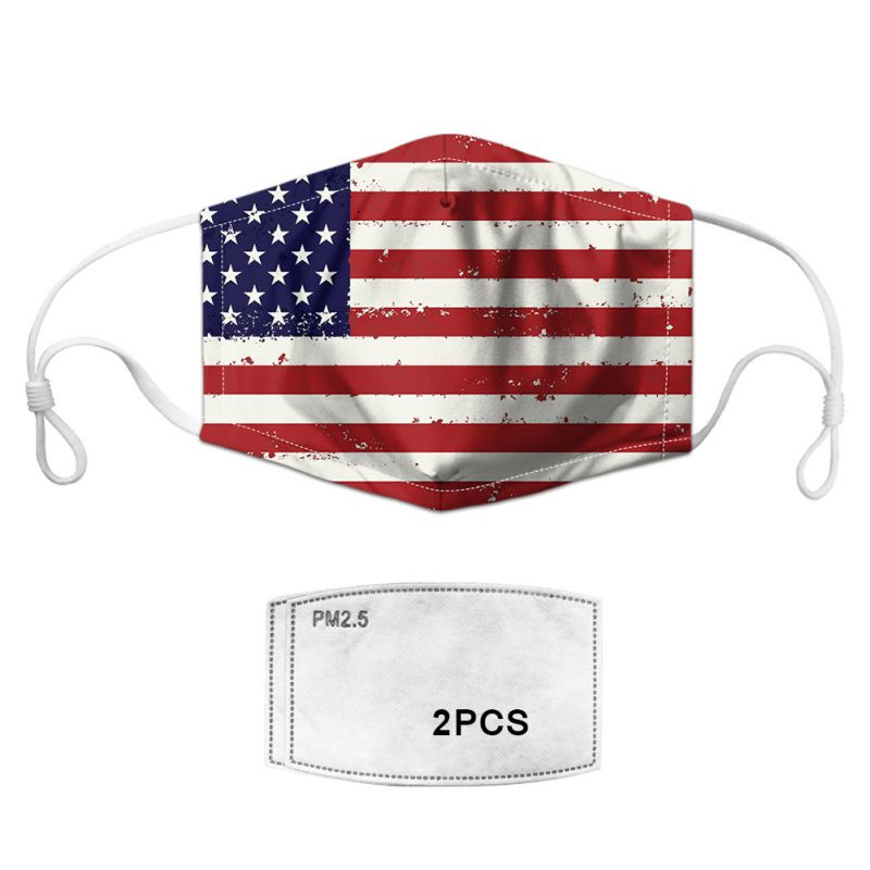 Wonderful! National Flag Pattern Cycling Face Mask + 2pcs PM2.5 Mask Filters Reusable Shield Mask Cover Respirator Anti-Dust
