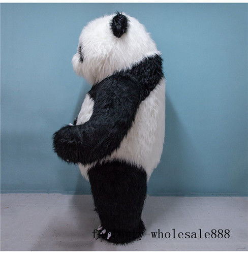 2m gonflable longue fourrure chinois Panda ours mascotte Costume Costume adulte fantaisie robe Cosplay fête jeu tenues publicité Halloween