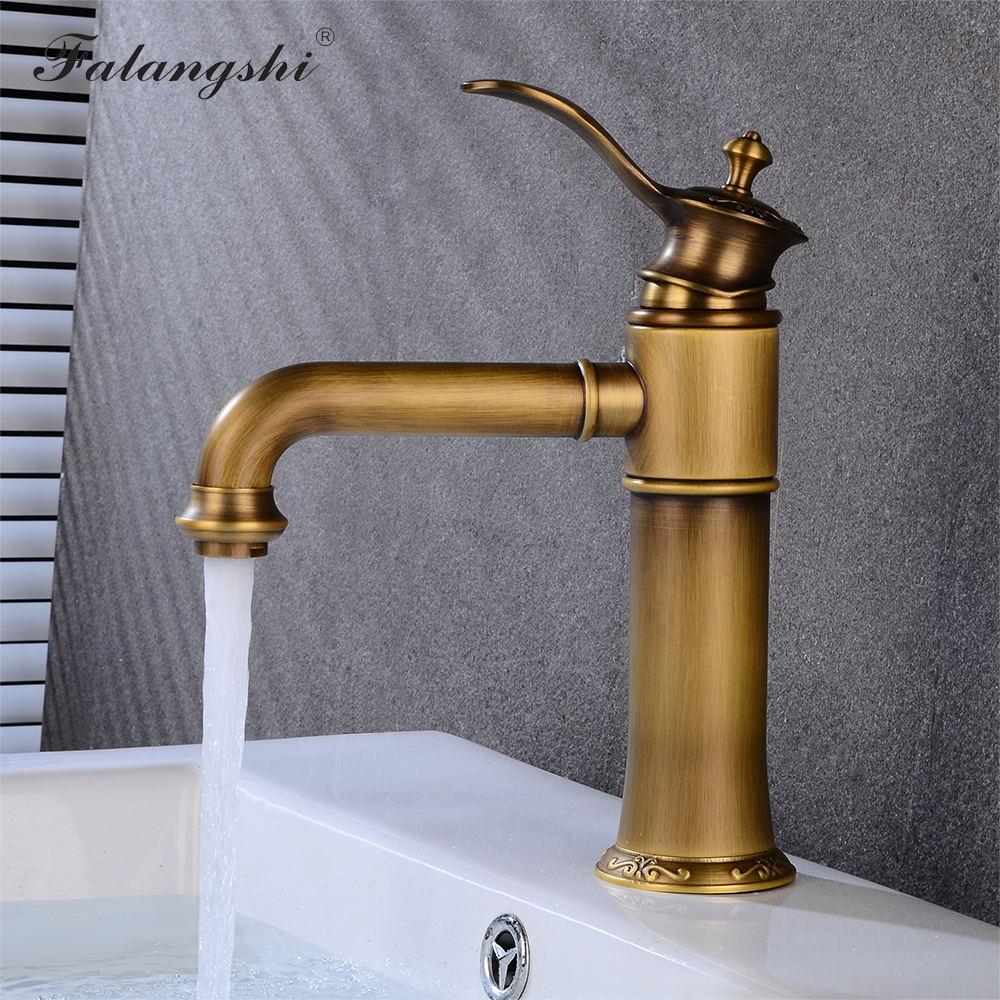 Antique cuivre bassin robinet en laiton mélangeur salle de bains évier robinet pont monté eau froide et chaude robinets évier eau mélangeur grue WB1088
