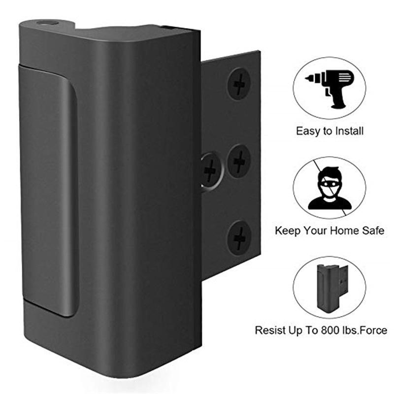 Black Aluminium Alloy Door Reinforcement Lock  with Screws Security Home Child Proof Stopper