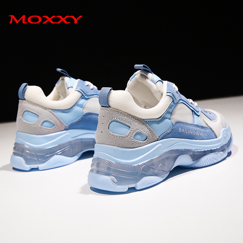 2019 New Sky Blue Chunky Sneakers Women Transparent Fashion Dad Sneakers Female Trainers Casual Shoes Woman Chaussures Femme