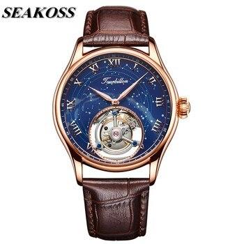 Роскошные деловые мужские часы Starry Tourbillon, механические часы с ремешком из натуральной кожи