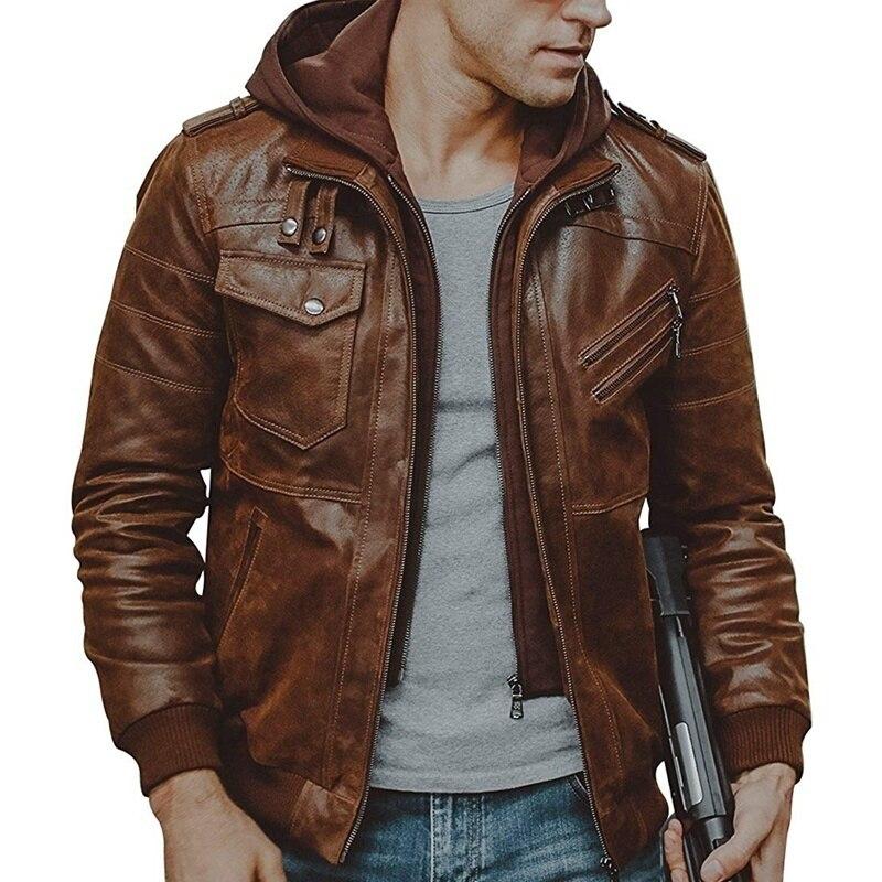 Brand Motorcycle Leather Jacket Men Winter Patchwork Hooded Zipper Men's Leather Jacket Jaqueta De Couro Masculina PU Mens Coats