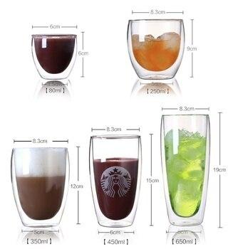 4 unids/lote tazas de café expreso tazas de café Latte Cappuccino tazas de té 80 mililitros/2. DDC-08 de vidrio Espresso de doble pared de 7 onzas