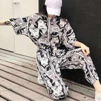 Frauen Harajuku 2Pcs Set Mode Cartoon Gedruckt Kurzen Ärmeln T-Shirt Tops + Lange Hosen Koreanische Beiläufige Trainingsanzüge Dame Anzug hip hop