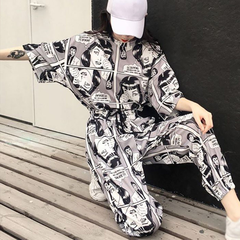 Women Harajuku 2Pcs Set Fashion Cartoon Printed Short Sleeves T-Shirt Tops+Long Pants Korean Casual Tracksuits Lady Suit Hip Hop