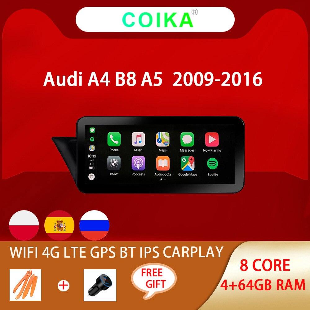 Автомобильная стереосистема 8 ядер Android 10 для Audi A4 B8 A5 2009-2016 WIFI 4G LTE Carplay 4 + 64 Гб RAM SWC IPS сенсорный экран GPS навигатор